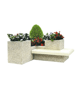 Ensemble jardinières béton avec assise