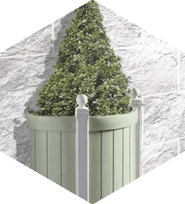Semi-round concrete planter