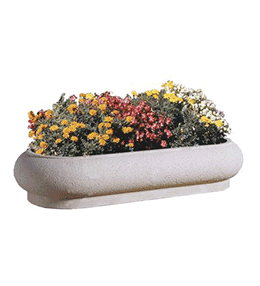 Oval concrete planter