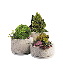 Round planter in washed aggregate