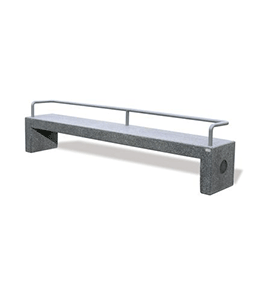 Concrete bench with stainless steel back