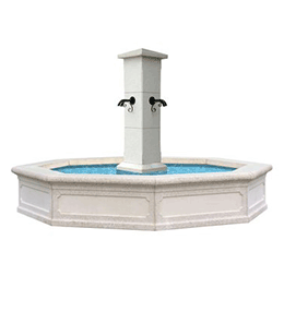 Octagonal single-piece concrete fountain