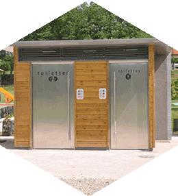 Toilette publique 2 cabines bois équipée PMR