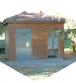 Public toilets, 2 cabins with tiled roof