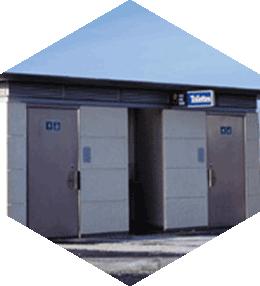 Public toilets, 3 cabins, 2 with PRM access